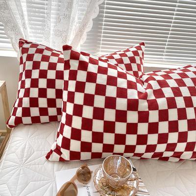 2021新款棋盘格单枕套系列 48x74cm/只 棋盘格-车厘子红