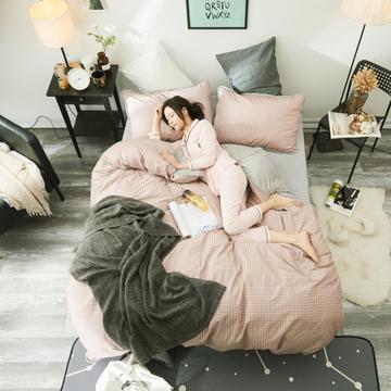 2018新款慕荨13372棉加水晶绒四件套包边款 1.2m(4英尺)床三件套 粉灰格