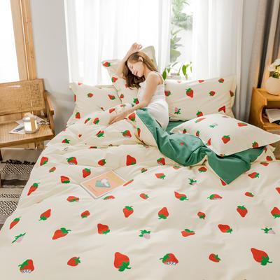 2019新款生态磨毛四件套 1.8m床单款四件套 草莓派