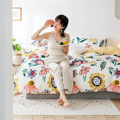 2020春夏少女心系列全棉四件套 1.2m床单款三件套 太阳花