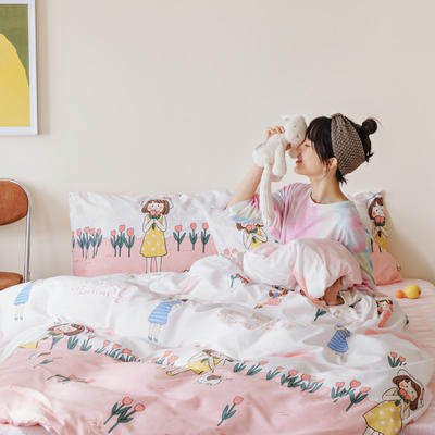 2020春夏趣味卡通系列四件套 1.2m床单款三件套 少女情怀