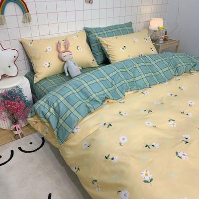 2020少女心系列全棉四件套实拍图 1.5m床单款四件套 小雏菊-黄