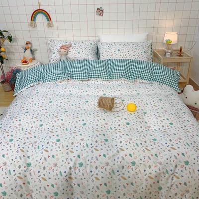 2020少女心系列全棉四件套实拍图 1.2m床单款三件套 溢彩