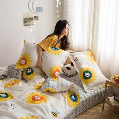 2020新款小清新全棉四件套-电子图 1.2m床单款三件套 向日葵