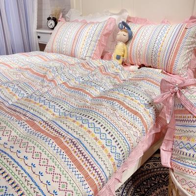 2020新款少女心蝴蝶结花边款四件套 1.2m床单款三件套 彩虹之旅