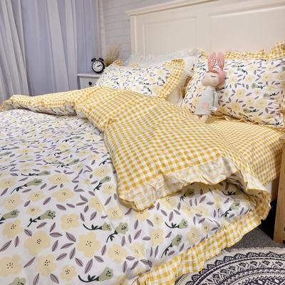 2020新款少女心蝴蝶结花边款四件套 1.2m床单款三件套 花影佳人黄