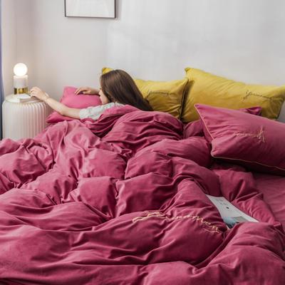 2020新款工艺款水晶绒四件套 1.5m床单款四件套 绒   暖红