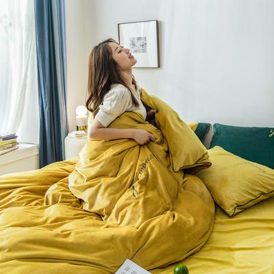 2020新款工艺款水晶绒四件套 1.5m床单款四件套 绒  姜黄