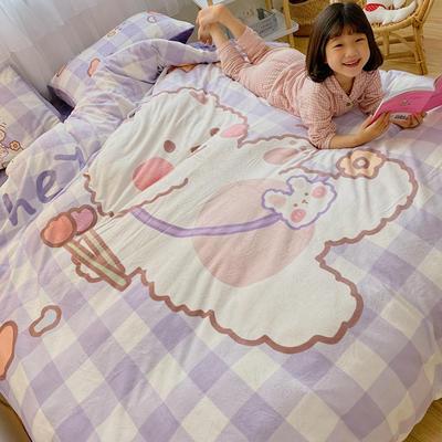 2020新款元气卡通牛奶绒系列四件套 1.5m床单款四件套 可爱小熊