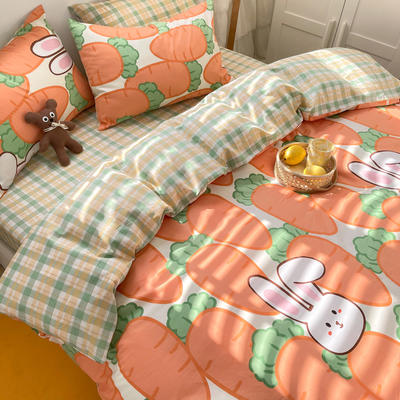 2021新款趣味卡通系列四件套棚拍图 1.5m床单款四件套 萝卜兔