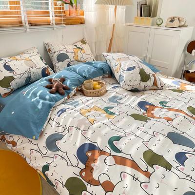 2021新款趣味卡通系列四件套棚拍图 1.5m床单款四件套 猫咪派对