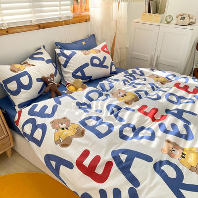 2021新款趣味卡通系列四件套棚拍图 1.5m床单款四件套 字母熊