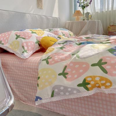 2021新款全棉蕾丝花边系列四件套 1.5m床单款四件套 清新草莓
