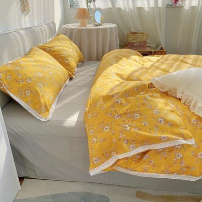 2021新款全棉蕾丝花边系列四件套 1.5m床单款四件套 野趣