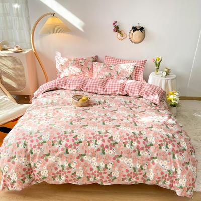 2021新款全棉小清新田园花卉系列四件套 1.5m床单款四件套 草莓花园