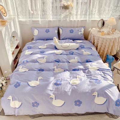 2021新款全棉趣味卡通系列四件套实拍图 1.5m床单款四件套 蓝小鸭