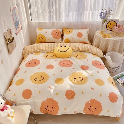 2021新款全棉趣味卡通系列四件套实拍图 1.5m床单款四件套 微笑