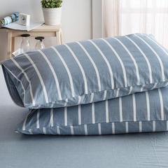 色织水洗棉四件套单品(条纹系列枕套) 48cmX74cm 浅灰白条