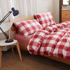 色织水洗棉四件套单品(中格子系列枕套) 48cmX74cm 酒红中格