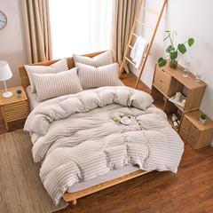针织棉四件套单品(床单) 200*250cm 浅咖中条