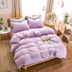 针织棉四件套单品(床单) 230*250cm 紫色宽条