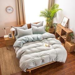 针织棉四件套单品(被套) 220x240cm 水绿中条