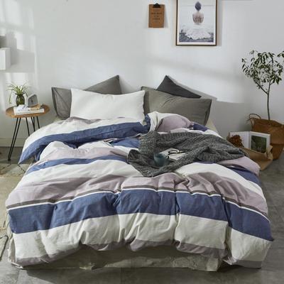 2019新款-色织水洗棉单品枕套 48cmX74cm 格调蓝