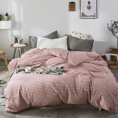 2019新款-色织水洗棉单品枕套 48cmX74cm 桔小格