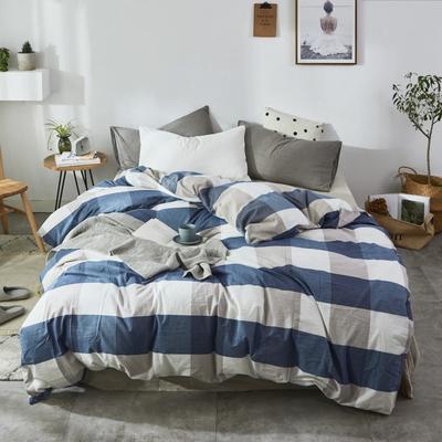 2019新款-色织水洗棉单品枕套 48cmX74cm 蓝白大格