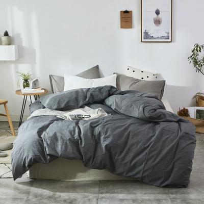 2019新款-色织水洗棉单品枕套 48cmX74cm 冷深灰