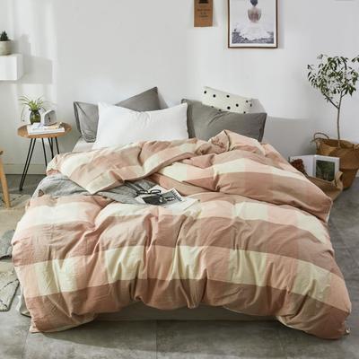 2019新款-色织水洗棉单品枕套 48cmX74cm 蜜粉大格