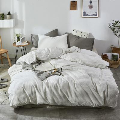 2019新款-色织水洗棉单品枕套 48cmX74cm 细白格