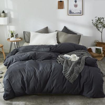 2019新款-色织水洗棉单品枕套 48cmX74cm 细灰格