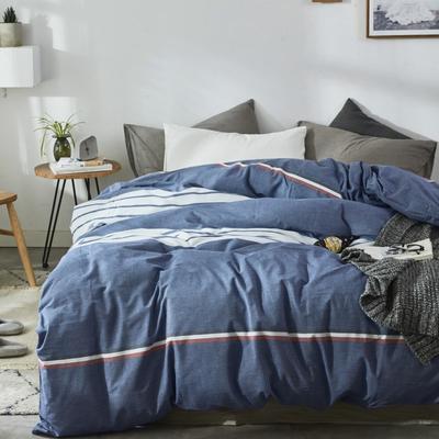 2019新款-色织水洗棉单品枕套 48cmX74cm 运动蓝