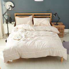 2018新款-色织水洗棉四件套(渐变格条系列) 床笠款1.2m(4英尺)床 渐变条米
