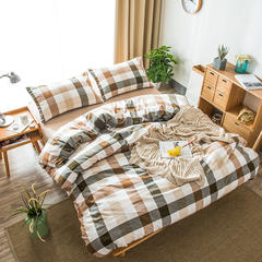 2018新款-色织水洗棉四件套(中格子系列) 床单款1.2m(4英尺)床 蓝陵咖格
