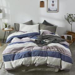 2018新款-色织水洗棉单品被套 150x200cm 单品被套格调蓝