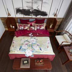 舒吉绒数码印花四件套 标准1.5m-1.8m床 4双雀屏-红