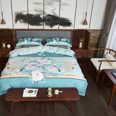 舒吉绒数码印花四件套 标准1.5m-1.8m床 双雀屏-绿