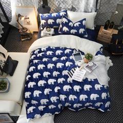宝宝绒&羊羔绒系列四件套 标准(1.5m床-1.8m床) 极地世界-蓝