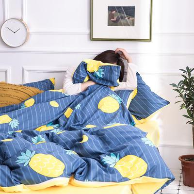 2019新款13372棉加绒保暖四件套 1.35m床单款三件套 菠萝之恋