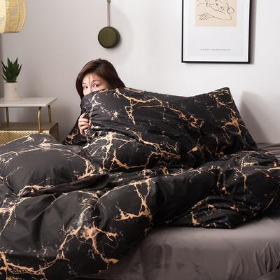2019新款13372棉加绒保暖四件套 1.8m床单款四件套 灵石-黄