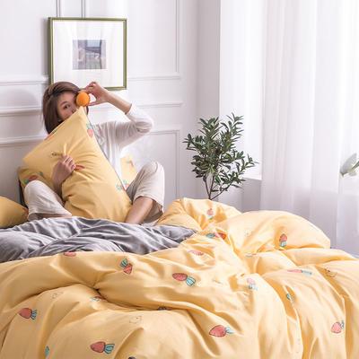 2019新款13372棉加绒保暖四件套 1.2m床单款三件套 萝卜丁