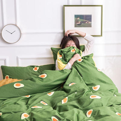 2019新款13372棉加绒保暖四件套 1.35m床单款三件套 牛油果-绿