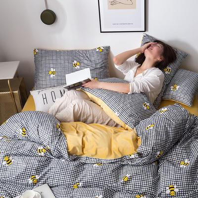 2019新款13372棉加绒保暖四件套 2.0m床单款四件套 小蜜蜂
