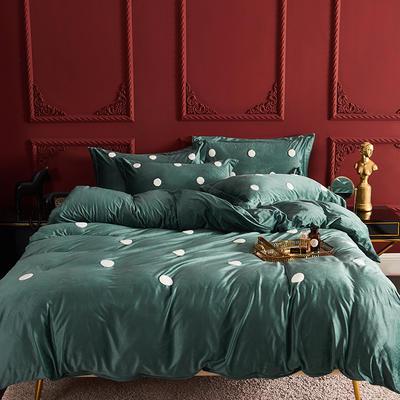 2019新款毛巾绣水晶绒保暖四件套-摩登派 1.5m床单款 摩登派-绿