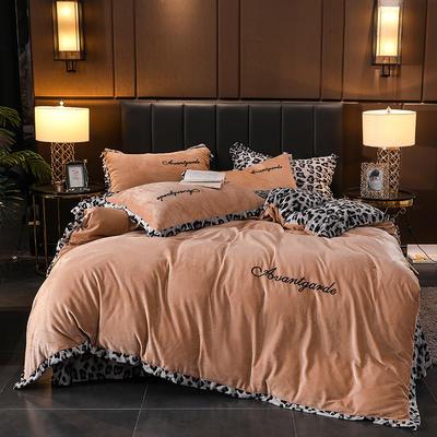 2019新款豹纹保暖水晶绒四件套-安琪拉 1.5m床单款 安琪拉-驼