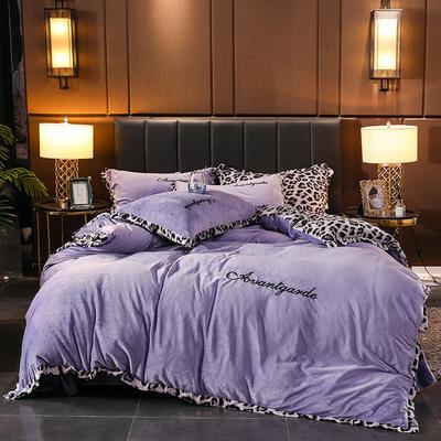 2019新款豹纹保暖水晶绒四件套-安琪拉 1.5m床单款 安琪拉-紫