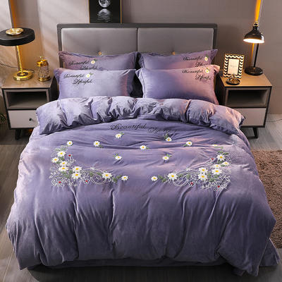 2019新款毛巾绣水晶绒保暖四件套-乔治花园 1.5m床单款 乔治花园-紫
