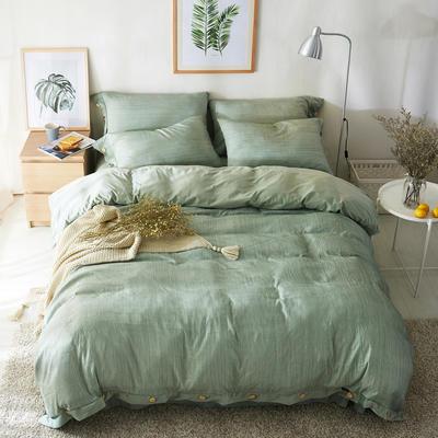 2019新款色织精梳绒水晶绒四件套-臻简时光 1.5m床单款 臻简时光-薄绿
